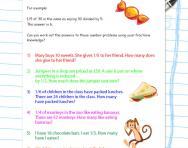 Fractions number problems worksheet