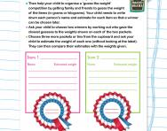 Guess the weight competition worksheet