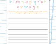 Handwriting worksheet: words in lower case