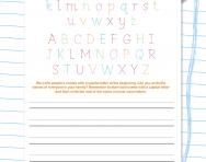 Handwriting worksheet: writing in upper and lower case