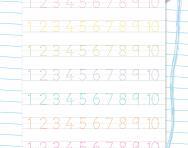 Handwriting numbers 1 to 10 worksheet