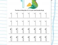 Handwriting practice: writing the number 1 worksheet