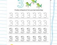 Handwriting practice: writing the number 3 worksheet