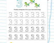 Handwriting practice: writing the number 3 worksheet