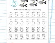 Handwriting practice: writing the number 5 worksheet