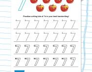 Handwriting practice: writing the number 7 worksheet