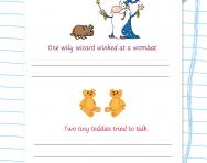 Handwriting silly sentences worksheet