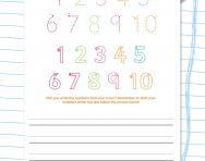 Handwriting worksheet: numbers 1 to 10