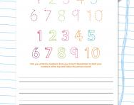 Handwriting worksheet: numbers 1 to 10