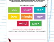 Homographs explained worksheet