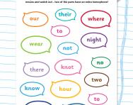Homophones mix and match worksheet