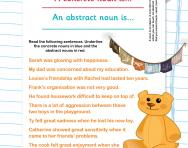 Identifying concrete and abstract nouns worksheet