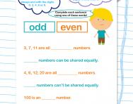 Identifying odd and even worksheet