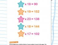 Incomplete multiplications worksheet