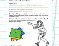 Instructions for obstacle course with blindfold activity