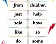 KS1 high-frequency words flashcards