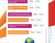 Light and shadows facts worksheet
