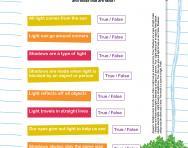 Light and shadows true or false worksheet