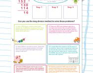 Long division with remainders practice worksheet