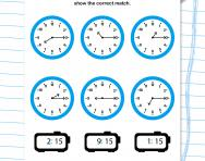 Match digital and analogue time (quarter past) worksheet