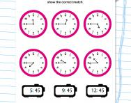 Match digital and analogue time (quarter to) worksheet