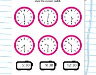 Match digital and analogue time to the half hour worksheet
