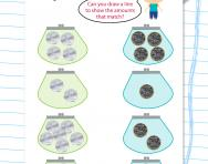 Matching money (50p and £1) worksheet