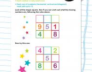Maths magic square for Year 2