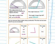 Measuring angles with a protractor worksheet