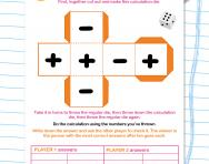 Mental addition and subtraction game worksheet