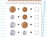 Money addition: 1p, 2p, 5p, 10p worksheet