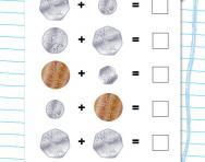 Money addition: 2p, 5p, 10p, 20p, 50p worksheet