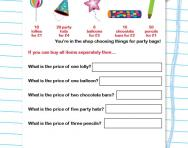 Money problems: Calculating unit costs worksheet