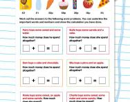Money word problems: Addition worksheet