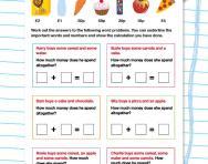 Money word problems: Addition worksheet