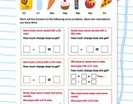 Money word problems: Subtraction worksheet