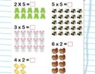 Multiplication problems (2x, 5x) worksheet