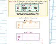 Multiplying a three-digit number by a two-digit number with the grid method