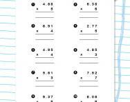 Multiplying decimals worksheet