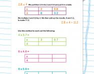 Multiplying decimals using the grid method worksheet