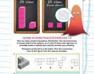 Non-verbal reasoning worksheet: 2D and 3D views practice