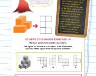 Non-verbal reasoning worksheet: 2D views of 3D shapes