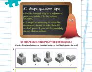 Non-verbal reasoning worksheet: 3D shape-building practice