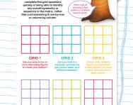 Non-verbal reasoning worksheet: Complete the matrix by finding the overall pattern