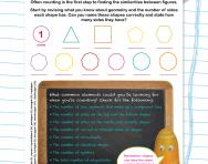 Non-verbal reasoning worksheet: Counting sides, symbols and more
