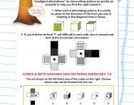 Non-verbal reasoning worksheet: Cubes and nets: shading and patterns