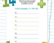 Number bond problems (to 20) worksheet