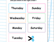 Order the days of the week worksheet