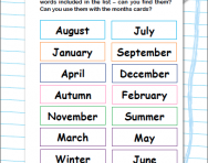 Order the months of the year worksheet