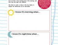 Physical processes: morning and night worksheet